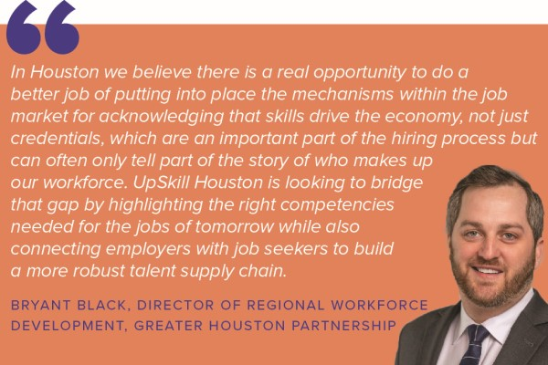 Bryant Black describes UpSkill Houston's work in a pull quote from Accelerator for America's new workforce development playbook